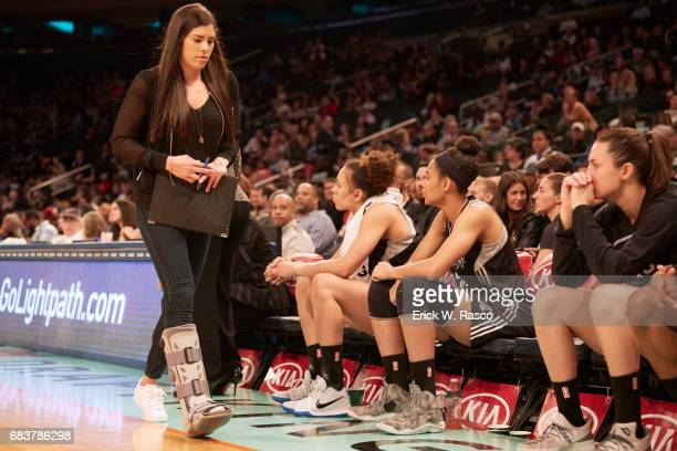 San Antonio Stars Kelsey Plum with injury walking on sidelines wearing boot during game vs New York Liberty at Madison Square Garden New York NY...