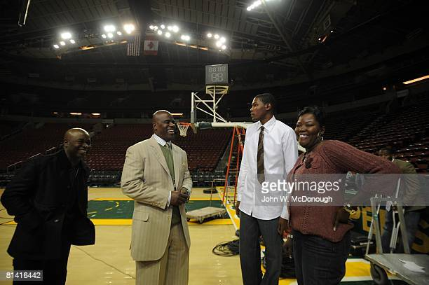 Basketball Seattle SuperSonics Kevin Durant with mother Wanda Pratt and agent Aaron Goodwin after losing game vs Phoenix Suns Seattle WA 11/1/2007
