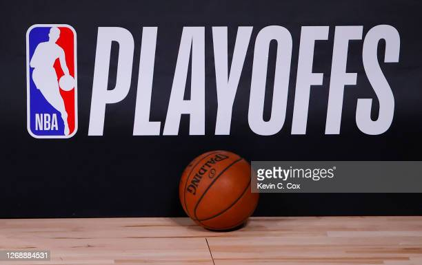 Basketball sits next to an NBA Playoffs logo in Game Five of the Eastern Conference First Round scheduled between the Milwaukee Bucks and the Orlando...