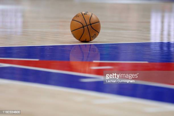 Basketball sits on the court during a timeout in the game between the Sacramento Kings and the Denver Nuggets at Golden 1 Center on November 30, 2019...