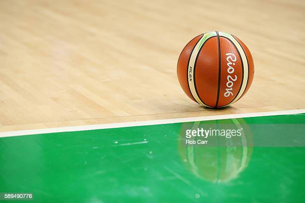 A basketball sits on the court during a timeout of the United States and China game during the Womens Preliminary Round on Day 9 of the 2016 Rio...