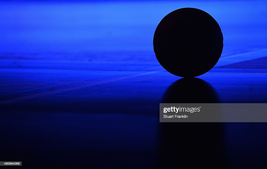 A basketball sits on the court during the Bundesliga basketball game between Basketball Loewen Braunschweig and Artland Dragons on January 3, 2015 in Braunschweig, Germany.