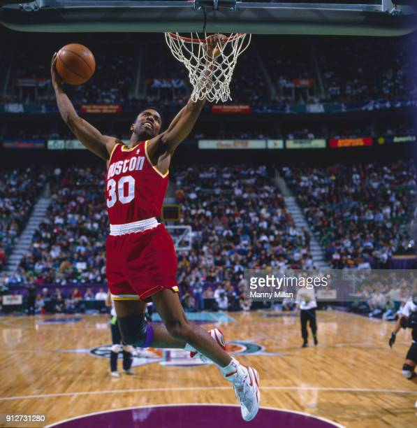 Slam Dunk Contest Houston Rockets Kenny Smith in action dunking during competition at Delta Center Salt Lake City UT CREDIT Manny Millan