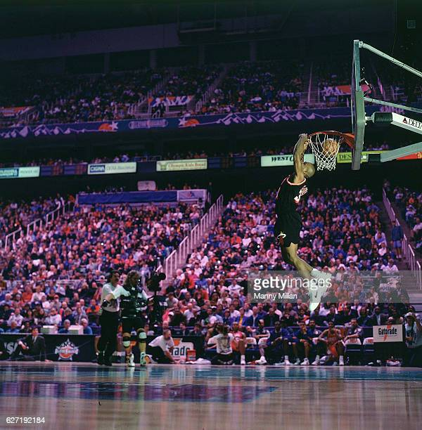 Slam Dunk Contest Miami Heat Harold Miner in action dunking during competition at Delta Center Salt Lake City UT CREDIT Manny Millan