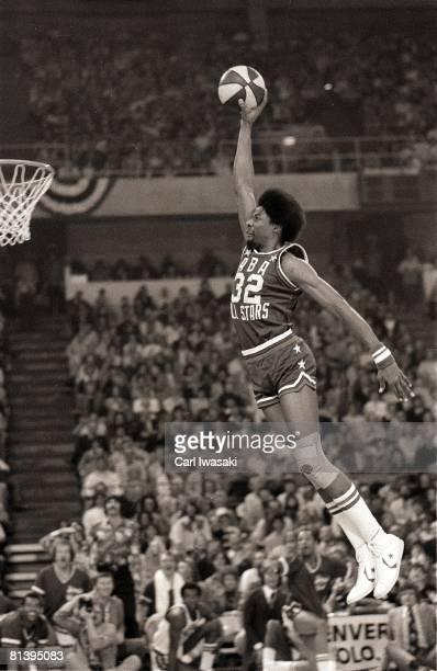 Slam Dunk Contest New York Nets Julius Dr J Erving in action making dunk Denver CO 1/27/1976