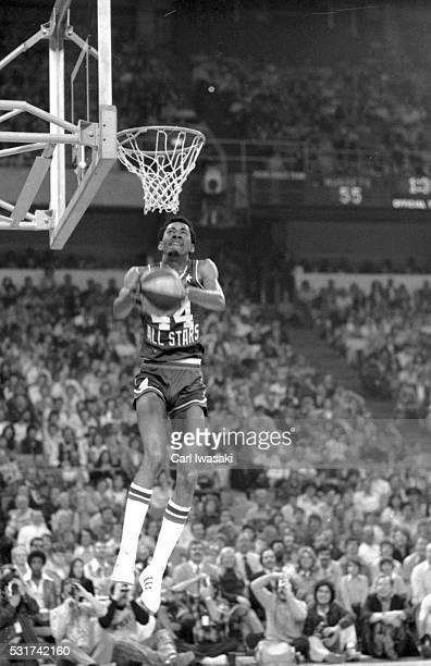 Slam Dunk Contest San Antonio Spurs George Gervin in action dunk at McNichols Arena Denver CO CREDIT Carl Iwasaki