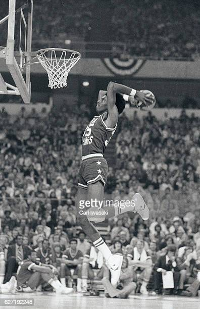 Slam Dunk Contest San Antonio Spurs Larry Kenon in dunking during competition at McNichols Sports Arena Denver CO CREDIT Carl Iwasaki