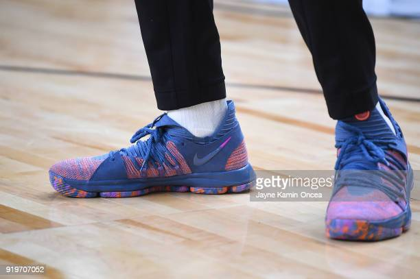 Basketball sneakers worn by Kevin Durant of Team LeBron during practice for the 2018 NBA AllStar game at the Verizon Up Arena at LACC on February 17...