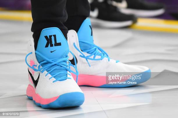 Basketball sneakers worn by Kevin Love of Team LeBron during practice for the 2018 NBA AllStar game at the Verizon Up Arena at LACC on February 17...