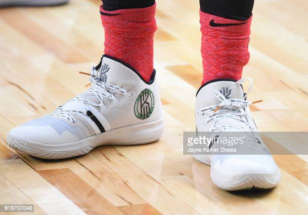 Basketball sneakers worn by Kyrie Irving of Team LaBron during practice for the 2018 NBA AllStar game at the Verizon Up Arena at LACC on February 17...