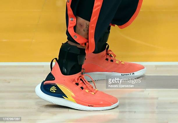 Basketball sneakers worn by Stephen Curry of the Golden State Warriors during an NBA Tournament Play-In game against Los Angeles Lakersat Staples...