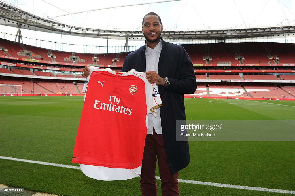 NBA basketball star Carmelo Anthony pitchside at Emirates stadium the Barclays Premier League match between Arsenal and Stoke City on September 12, 2015 in London, United Kingdom.
