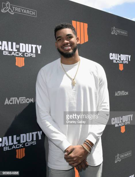 Basketball star KarlAnthony Towns arrives on the black carpet at the Call of Duty Black Ops 4 Community Reveal Event in Hawthorne CA on May 17 2018