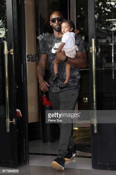 Basketball star Kobe Bryant and his daughter Bianka Bella leave their hotel on June 18 2018 in Paris France