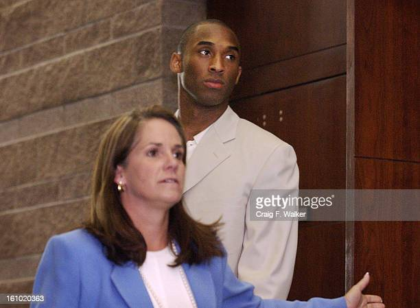 Basketball star Kobe <cq> Bryant <cq> and his Attorney Pamela <cq> Mackey <cq> front enter the Eagle County Justice Center in Eagle CO on Wednesday...