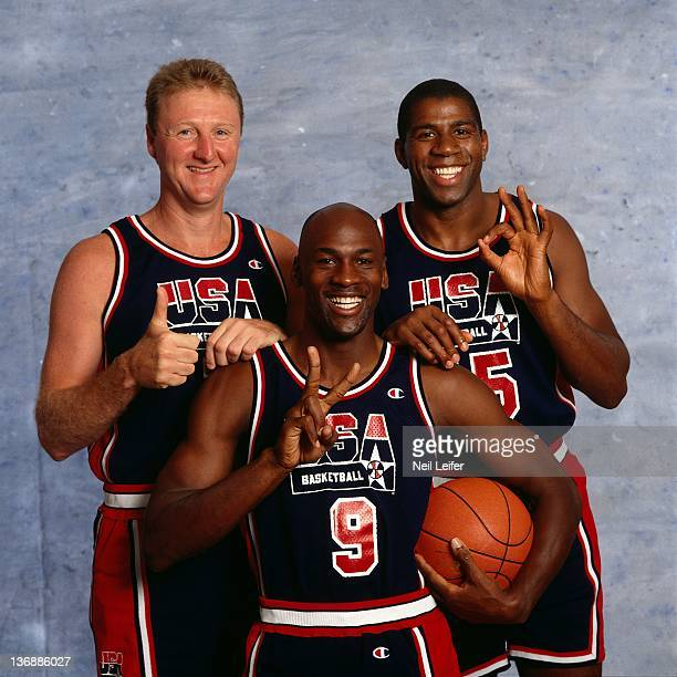 Basketball Summer Games Preview Closeup portrait of USA Larry Bird Michael Jordan and Magic Johnson during photo shoot Dream Team San Diego CA...