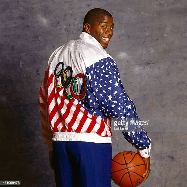 Summer Games Preview Portrait of USA Magic Johnson posing during photo shoot Dream Team San Diego CA CREDIT Neil Leifer