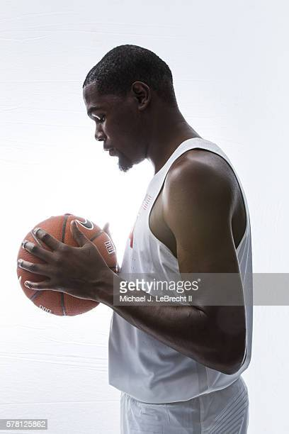 Summer Games Preview Profile view of Team USA Kevin Durant posing with ball during photo shoot at the Boys Girls Club Harbor New York NY CREDIT...
