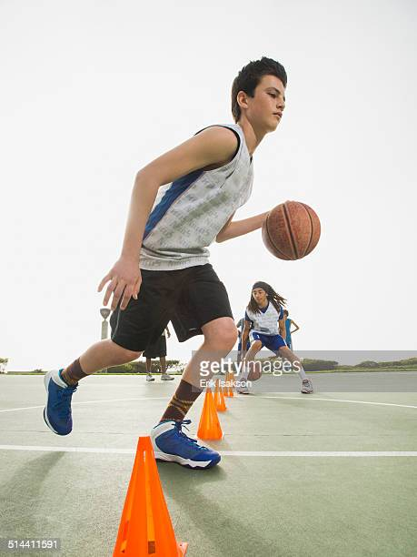 Basketball team doing drills at practice