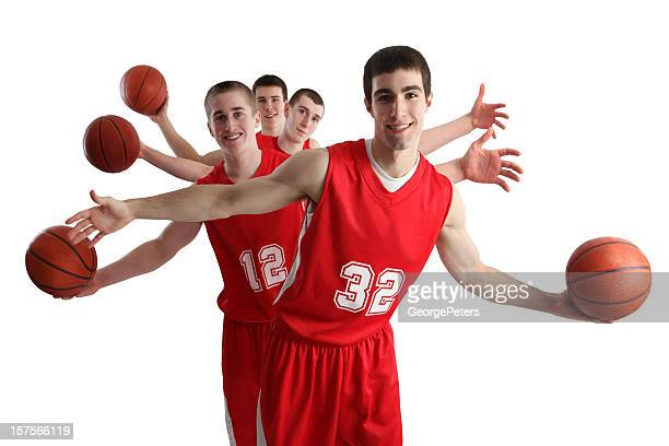 basketball team isolated on white background - basketball team stock pictures, royalty-free photos & images