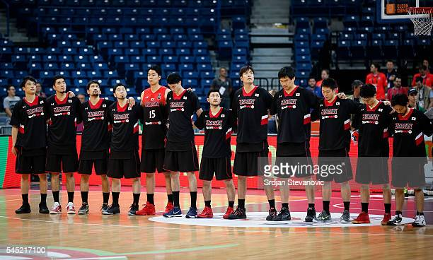 Basketball team of Japan sing national anthem prior the 2016 FIBA World Olympic Qualifying basketball Group B match between Czech Republic and Japan...