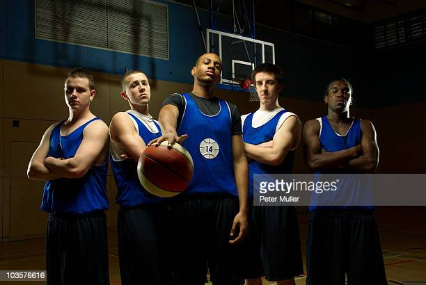 Basketball team posing