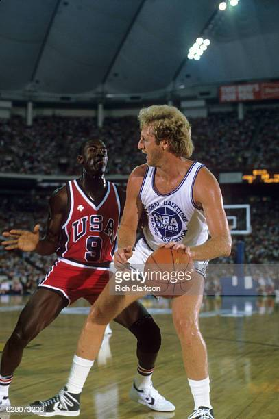 Team USA Michael Jordan in action defense vs NBA All Stars Larrry Bird at Hooiser Dome Indianapolis IN CREDIT Rich Clarkson