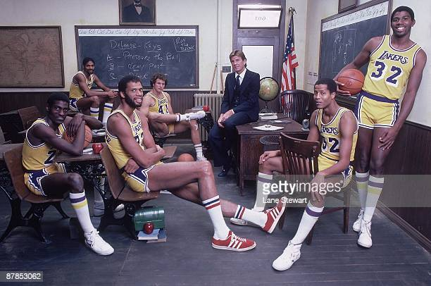 The NBA Goes Back To School Team portrait of Los Angeles Lakers Norm Nixon Mitch Kupchak coach Paul Westhead Jamaal Wilkes Magic Johnson Kareem...