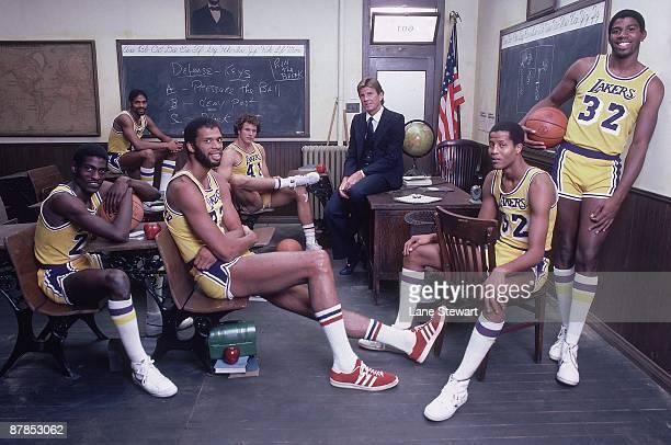 The NBA Goes Back To School: Team portrait of Los Angeles Lakers Norm Nixon , Mitch Kupchak , coach Paul Westhead, Jamaal Wilkes , Magic Johnson ,...