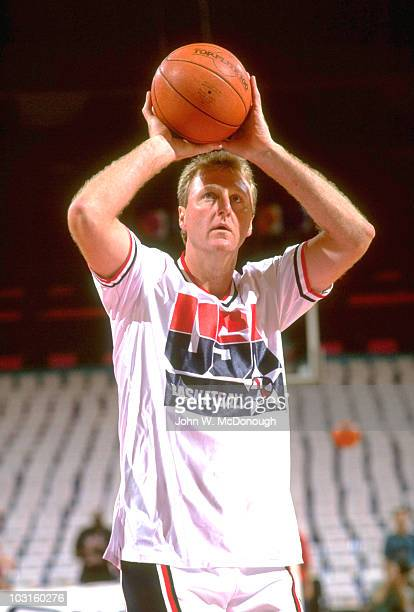 Tournament of the Americas USA Larry Bird during practice Dream Team Portland OR 6/27/1992 CREDIT John W McDonough