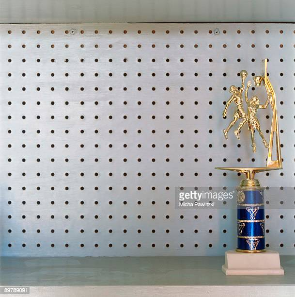 Basketball trophy on shelf