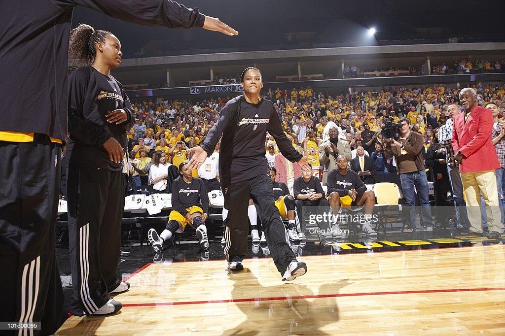 Tulsa Shock Marion Jones (20) during introductions before game vs Minnesota Lynx. Tulsa, OK 5/15/2010
