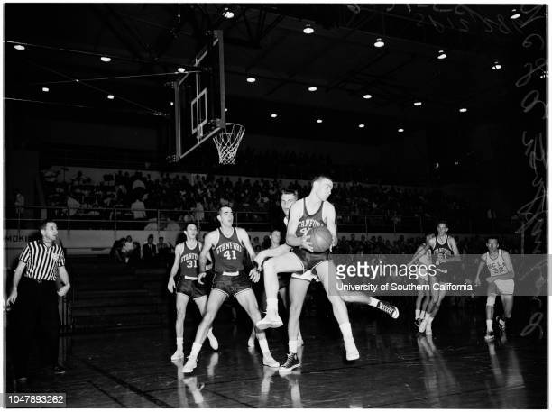 Basketball UCLA vs Stanford 21 February 1958 'Sports' Supplementary material lists 'UCLA Bruins' alphabetical rosterStanford Indians' alphabetical...
