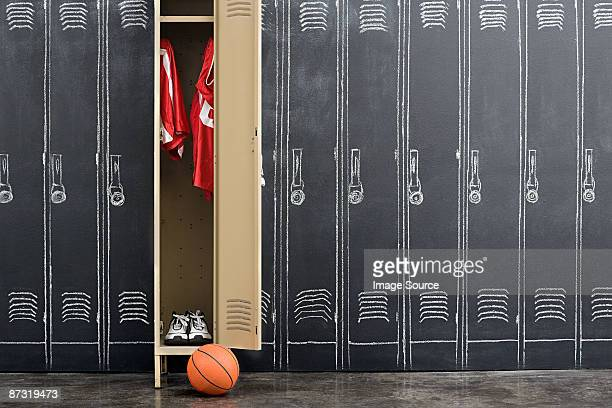 Basketball uniform hanging in a locker