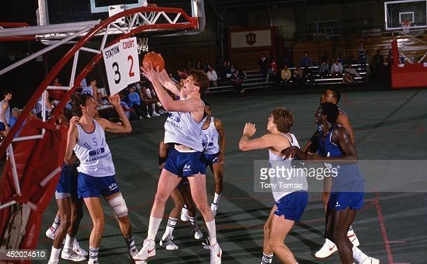 US Olympic Trials Arkansas Joe Kleine in action rebound during scrimmage at IU Fieldhouse on Indiana University campus Bloomington IN CREDIT Tony...