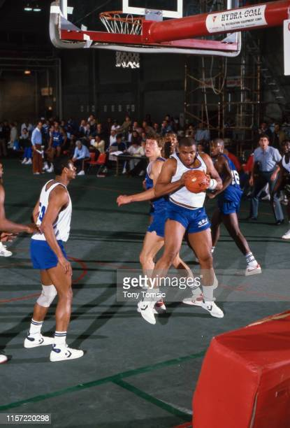 US Olympic Trials Auburn Charles Barkley in action rebound during scrimmage at IU Fieldhouse on Indiana University campus Bloomington IN CREDIT Tony...