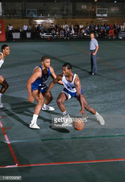 US Olympic Trials Dayton Roosevelt Chapman in action vs Auburn Charles Barkley during scrimmage at IU Fieldhouse on Indiana University campus...