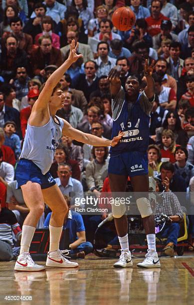 US Olympic Trials Georgetown Patrick Ewing in action vs Arkansas Joe Kleine during scrimmage at Assembly Hall Bloomington IN CREDIT Rich Clarkson