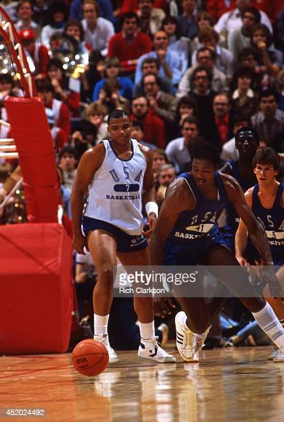 US Olympic Trials Louisiana State Karl Malone in action vs Auburn Charles Barkley during scrimmage at Assembly Hall Bloomington IN CREDIT Rich...