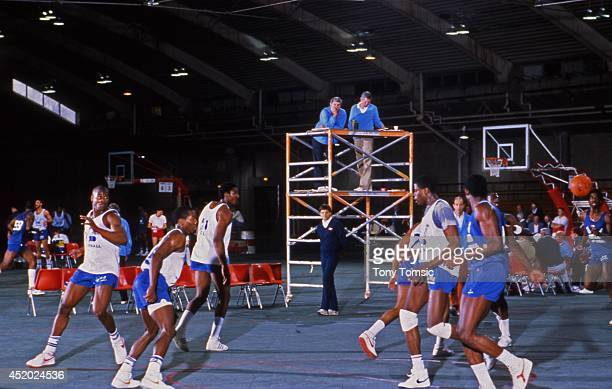 US Olympic Trials USA coach Bob Knight looks on from tower during scrimmage at IU Fieldhouse on Indiana University campus View of Georgetown Patrick...