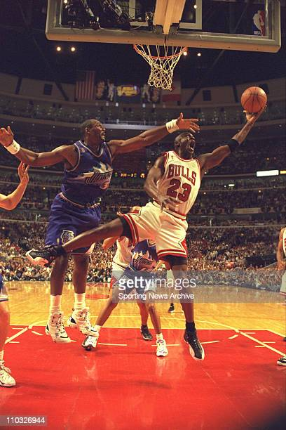 NBA Basketball Utah Jazz Karl Malone and Chicago Bulls Michael Jordan in Game 2 of the NBA Finals on June 4 at United Center in Chicago The Bulls won...