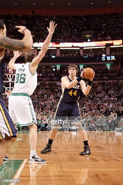 Utah Jazz Kyrylo Fesenko in action vs Boston Celtics at TD GardenBoston MA 1/21/2011CREDIT Damian Strohmeyer