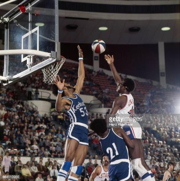 Utah Stars Gerald Govan in action shooting vs Kentucky Colonels Artis Gilmore at Salt Palace Salt Lake City UT CREDIT Heinz Kluetmeier