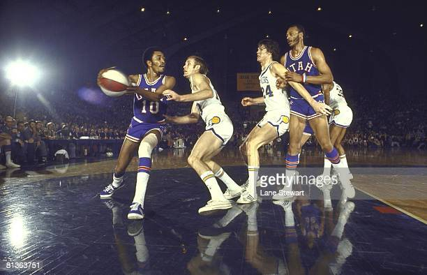 Utah Stars Merv Jackson in action vs Indiana Pacers Rick Mount Indianapolis IN 1/22/1972