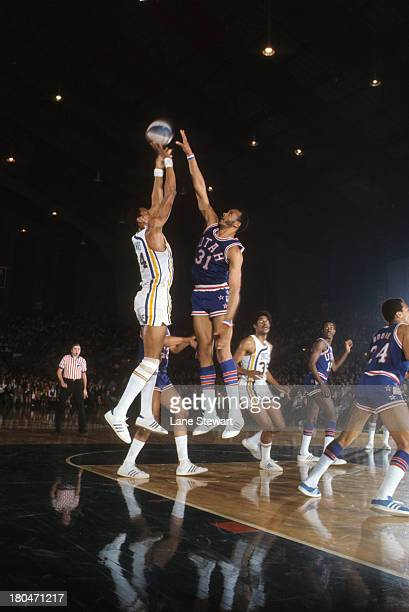 Utah Stars Zelmo Beaty in action shooting vs Indiana Pacers at Indiana State Fairgrounds Coliseum Indianapolis IN CREDIT Lane Stewart