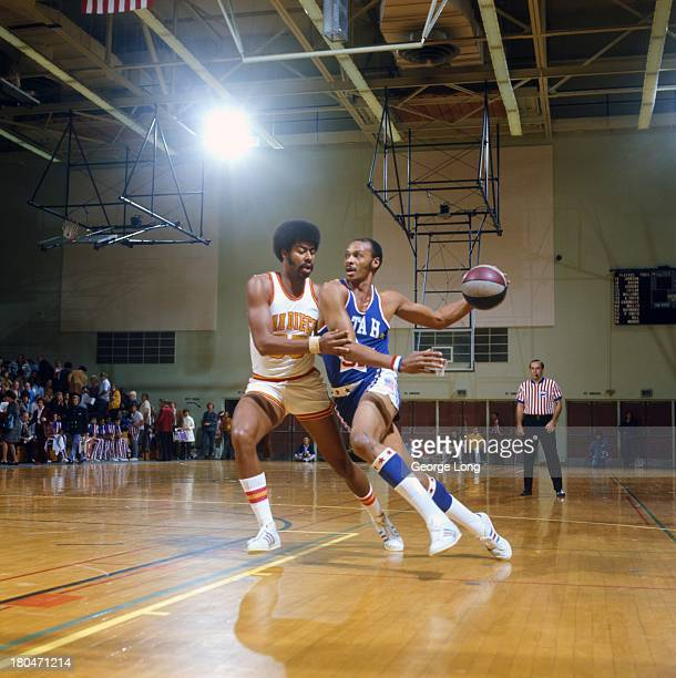 Utah Stars Zelmo Beaty in action vs San Diego Conquistadors Gene Moore at Peterson Gym San Diego CA CREDIT George Long