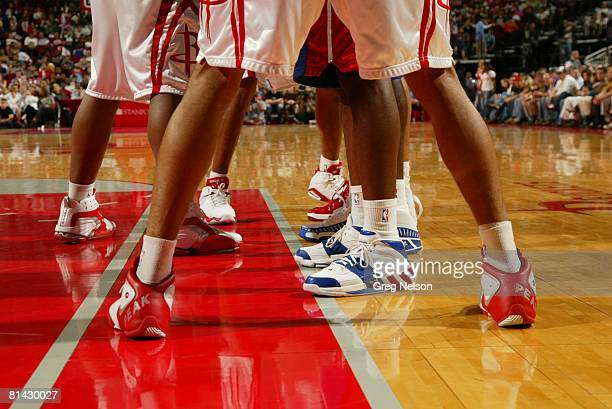 Basketball View of Chinese sportswear company Peak sneakers of Houston Rockets Shane Battier during inbound pass lineup of game vs Detroit Pistons...