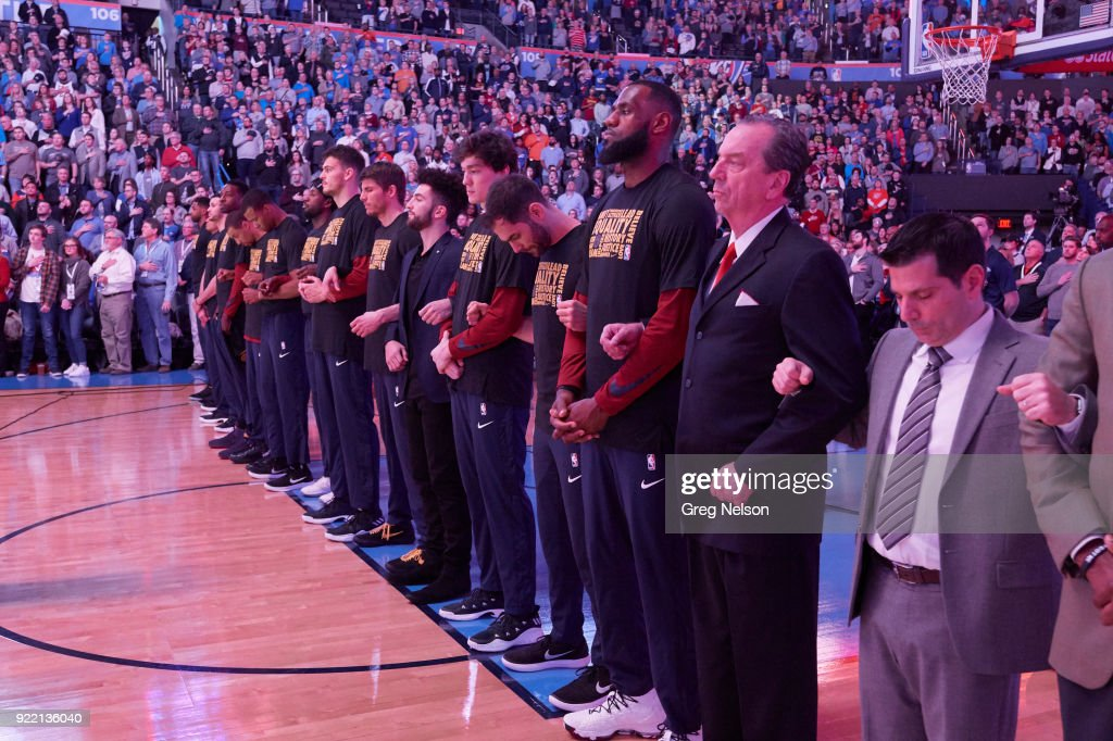 View of Cleveland Cavaliers players interlocking arms during anthem before game vs Oklahoma City Thunder at Chesapeake Energy Arena. Greg Nelson TK1 )