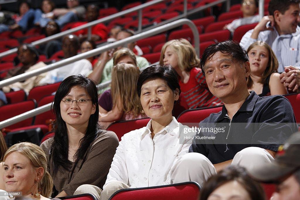 View of family of Houston Rockets Yao Ming, Wife Ye Li ... Yao Ming And Family