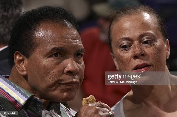 View of former heavyweight boxing champion Muhammad Ali with wife Lonnie Ali during Phoenix Suns vs Los Angeles Lakers game Phoenix AZ 3/12/2010...